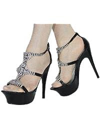 Damen Plateau Riemchen Sandalette mit Strassverzierung Stiletto Absatz High Heel schwarz