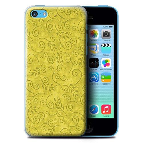 iCHOOSE Print Motif Coque de protection Case / Plastique manchon de telephone Coque pour Apple iPhone 5C / Collection Motif Feuille Remous / Bleu Jaune