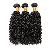 CLAROLAIR brésilien cheveux crepus bouclés cheveux brésiliens tissage bresilien boucle meche bresilienne tissage bouclee naturelle (100 +/-5G)/pc (12 14 16INCH IB)