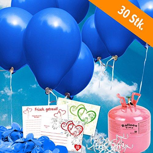 (30 blaue Helium Luftballons und Ballonkarten steigen lassen - Komplett Set aus Helium - Einwegflasche, Ballonflugkarten und Hochzeitsballons - Gas Luftballons für bis zu 30 Hochzeitsgäste mit Ballonflugkarten)