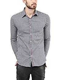 American Crew Men's Full Sleeve Checks Shirt With Pocket (Navy Blue & White)