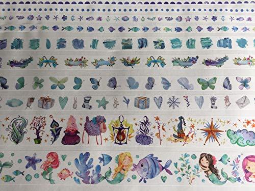10 Rollen Washi Tape Set - Watercolor Mermaid Märchenwelt - Nixen Fische Schmetterlinge Anker Herzen Zauberer Zauberstab Sterne Blumen Seesterne - blau Mint rosa pink