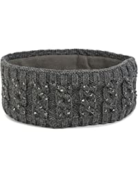 styleBREAKER Stirnband mit Zopfmuster und Strass, weiches Fleece Innenfutter, Haarband, Headband, Damen 04026001