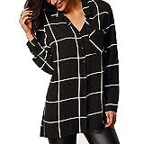 OverDose Women Blouse Long Sleeve Shirt Chiffon Casual Shirts Tops, X-Large, Black