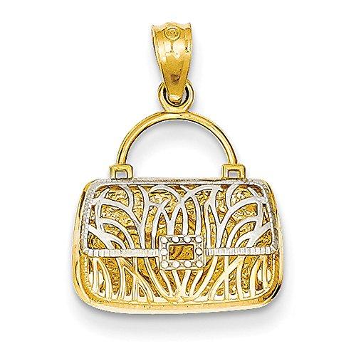 14K Gelb Gold Reversible Herz Handtasche Anhänger C3221 (14k Handtasche)