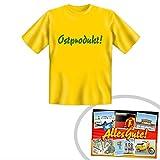 Tshirt Ostprodukt gelb | GRATIS DDR Geschenkkarte | DDR Produkte | Geschenkidee für alle Ostalgiker aus Ostdeutschland | Ossi Produkte