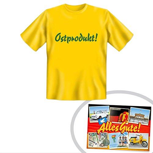 Tshirt Ostprodukt gelb | INKL DDR Geschenkkarte | Ostprodukte | Ideal für jedes DDR Geschenkset | DDR Geschenk