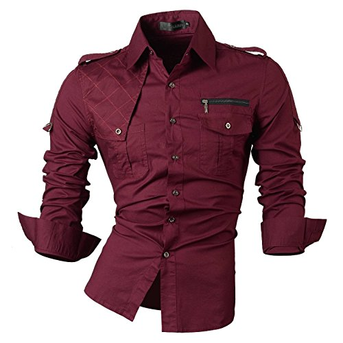 Jeansian Men's Slim-Fit-Hemd, Langarm - 8371_WineRed