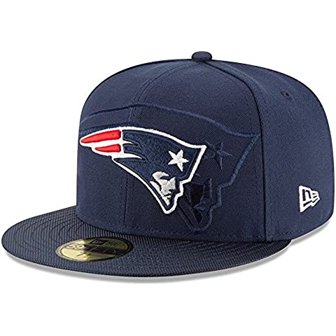 New Era Nfl Sideline 59Fifty Neepat Otc - Berretto Linea New England Patriots da uomo, colore Blu, taglia 7 1/8