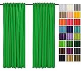 Rollmayer 2er Pack Vorhänge mit Tunnelband Kollektion Vivid (Grün 25, 135x260 cm - BxH) Blickdicht Uni einfarbig Gardinen Schal für Schlafzimmer Kinderzimmer Wohnzimmer 2 Stück