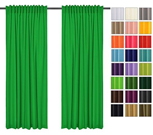 Sonnenschutz und Sichtschutz 2er Pack Vorhänge mit Tunnelband (Grün 25, 135x260 cm - BxH) Dekorative Blickdicht 2 Stücke Gardinen, Vorhang Schal für Schlafzimmer, Kinderzimmer, Wohnzimmer 40 FARBEN!! Grüne Gardinen