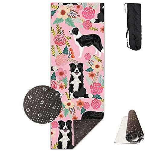 FGRYGF Non Slip Fitness Exercise Mat, Workout Mat for Yoga, Pilates and Floor Exercises, Comfort Velvet Yogamatte, Border Collie Florals Cute Pink Flowers Mat Carrying Strap & Bag - Pink Velvet Floral