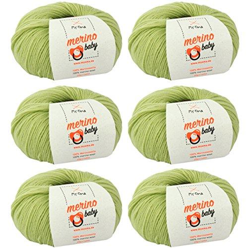 Babywolle zum Häkeln weich * Merino Baby Apfel (Fb 6040) * 6 Knäuel Babywolle grün + GRATIS Label - Merinowolle Baby – Weiche Baby Wolle – 100% Merino – Nadelstärke 2,5-3mm – Babywolle häkeln