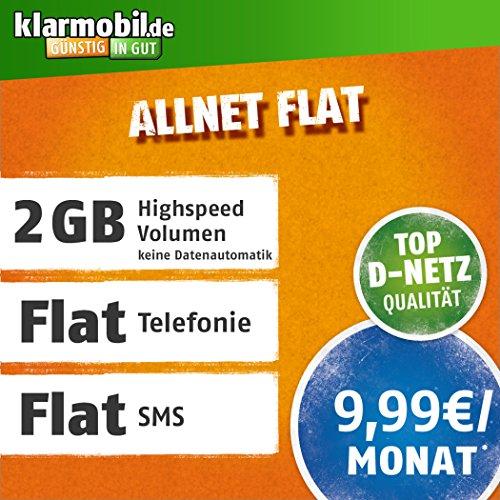 klarmobil Allnet Flat M mit 2 GB Internet Flat max. 21,6 MBit/s, Telefonie- und SMS-Flat in alle dt. Netze, EU-Flat, 24 Monate Laufzeit, 9,99 EUR monatlich, Triple-Sim-Karten