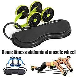 Cutito Fitness Ruedas Rodillo con Grueso Rodillera, Elástico Abdominal Músculo Resistencia Cuerda de Tracción para Entrenamiento Ejercicio Hogar - Verde