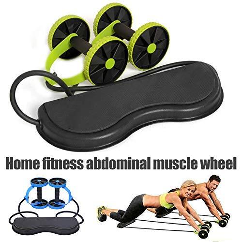 Cutito Fitness Ruedas Rodillo con Grueso Rodillera, Elástico Abdominal Músculo Resistencia Cuerda de Tracción para Entrenamiento Ejercicio Hogar - Azul