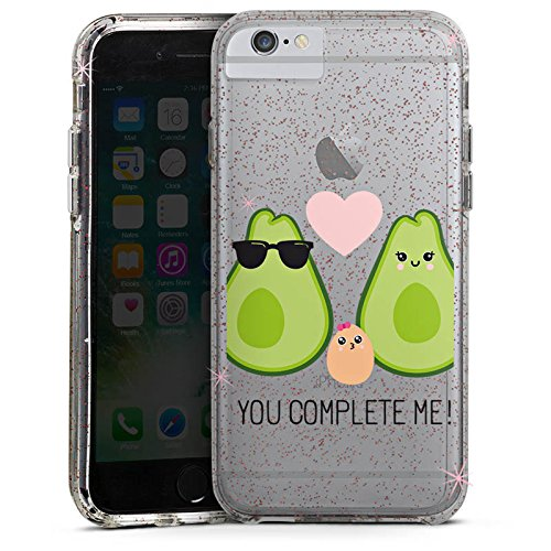 Apple iPhone 6s Bumper Hülle Bumper Case Glitzer Hülle Transparent mit Motiv Avocado Liebe Bumper Case Glitzer rose gold
