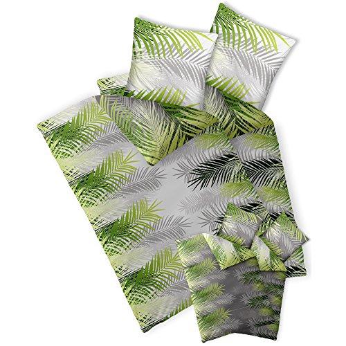 CelinaTex Fashion Bettwäsche 135 x 200 cm 4teilig Baumwolle Zoe Dschungel Weiß Grün Grau