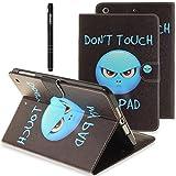 Slynmax Briefcase Tasche Flip Case Schutzhülle Kompatibel mit iPad Air 2/iPad 6 Hülle Wallet Case Don't touch PU Leder Brieftasche Lederhülle Ledertasche Handyhülle Handytasche Schale Klapphülle Cover