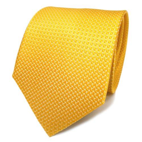 TigerTie Designer Satin Seidenkrawatte gelb dahliengelb silber gepunktet - Krawatte Seide