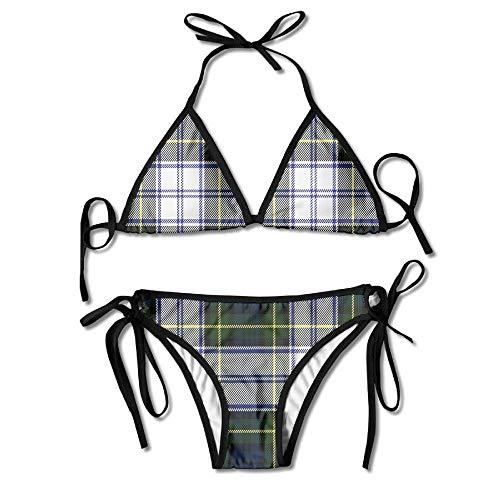 Women Swimwear Classic Scottish Plaid Funny Sexy Bikini Sets 2 Piece Bathing Swimsuits Tie Back Bikinis
