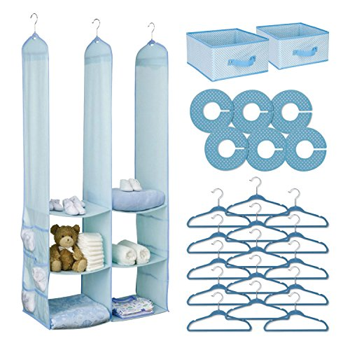 Top Home Solutions® 24pc Childrens Kids Baby Nursery Closet Organiser Hanging Wardrobe Storage Shelf (Blue)