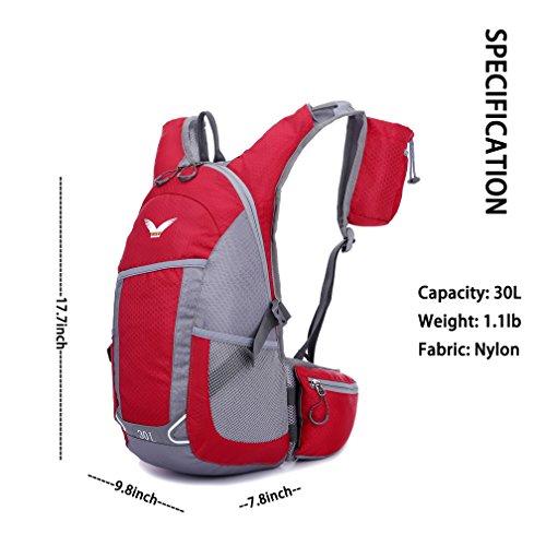 ZCL leichter Wanderrucksack 25L Daypack für Blase Pack Camping Radfahren Bergsteigen Schule Rot