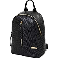 DEELIN Women PU Leather Backpacks Zipper Schoolbags Travel Shoulder Bag Cute Preppy Style College Students School Backpack for Girls Teenagers (Black)