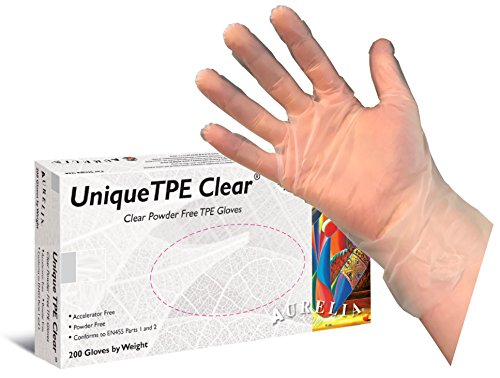 Einzigartige TPE Transparent puderfrei Einmalhandschuhe (Box 200Stück) (Stretch Fit Sicher)