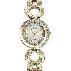 Joalia 631947-Ladies Watch-Analogue Quartz-Silver Dial-Golden Metal Strap