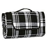 Azuma 130 x 150cm Folding Picnic Blanket Waterproof Backing Black Check Acrylic Rug Mat