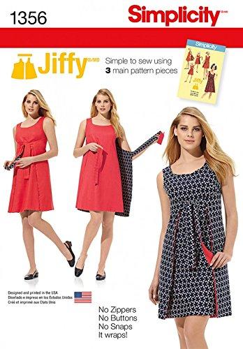 Simplicité pour femme Patron de couture facile 1356Style vintage Wrap Plus de robe
