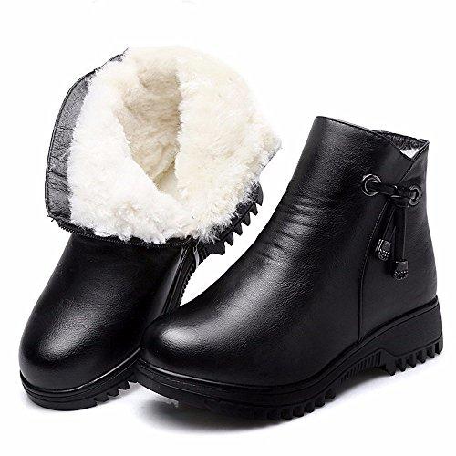Hxvu56546 Botas De Invierno Nuevas Para Mujer Botas De Algodón Grueso Grueso Grueso Botas De Gran Tamaño Con Botas Martin 41 Borgoña Negro