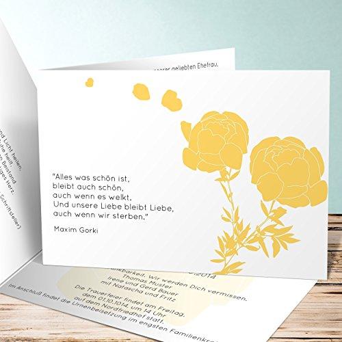Einladungskarten Beerdigung, Pfingstrosen 120 Karten, Horizontale Klappkarte 148x105 inkl. weiße Umschläge, Gelb