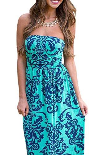 YMING abito da sposa da donna in stile floreale Boho Style Print Beachwear copri-UP abito maxi con tasca S-XL Blu