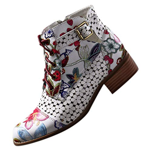 JXQ-N Damen Blockabsatz Stiefel Tinte Malerei Blumenmuster Rindsleder Nähen Spitze Stiefeletten Kuh Leder Lace-Up Ankle Boots Biker Boots -