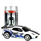 RC Mini Car, Multicolor Coke Can Mini Speed RC Radio Remote Control Micro Racing Car Toy Gift(Blue+White)