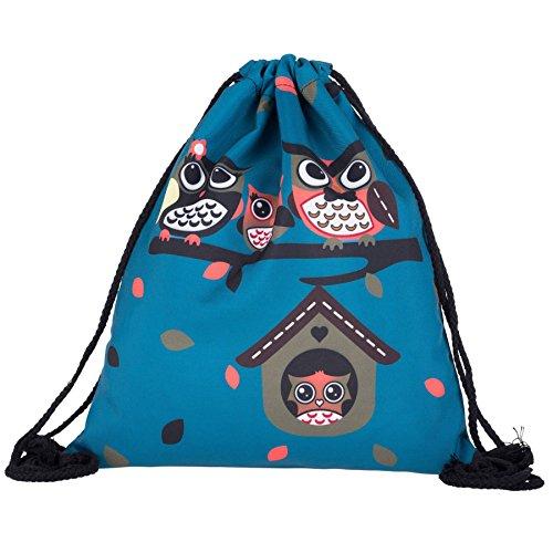 Famiglia Kukubird Gufo Su Albero Primavera/estate Design Semplice Stringa Palestra Scuola Zaini Owl Family Blue