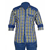 #7: Anry Little Casual Denim Yellow Checkered Shirts for Boys (6-14 Years)