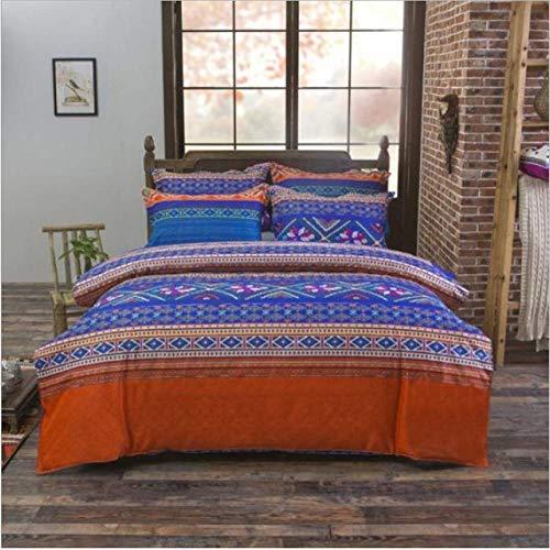 SHJIA Ethnischen Stil Tröster Bettwäsche-Sets Bettbezug Set Kissenbezug König Queen Size Bettwäsche Tagesdecke E 200x230cm -