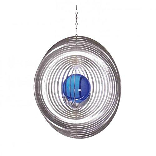 Illumino Edelstahl-Windspiel Kreis mit kobaltblauer 50 mm Glaskugel
