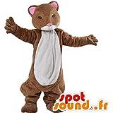 Mascot marrón y hurón blanco, hámster
