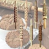 Gorgebuy Perno de balanceo - Chrismas Sorprendentes Símbolos Grabado en Madera Grabado en Relieve Pin - Alce de Navidad Patrón en Relieve para Galletas (Alce)