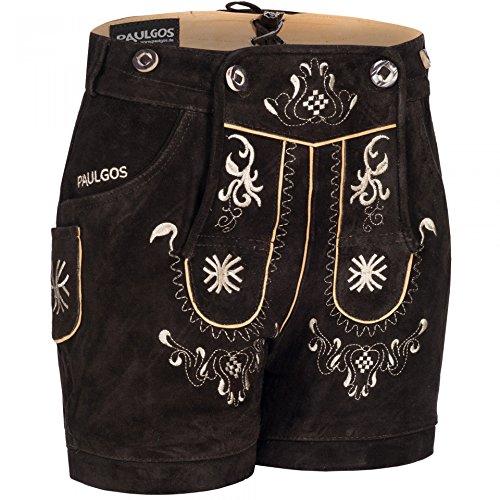 PAULGOS Damen Trachten Lederhose + Träger, Echtes Leder, Kurz in 8 Farben Gr. 34-50 M3, Farbe:Dunkelbraun, Damen Größe:44