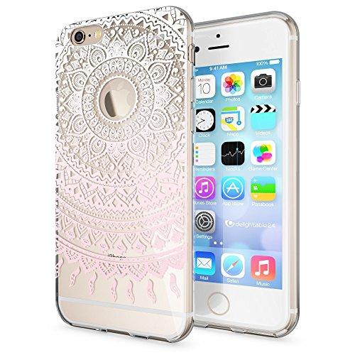 iPhone 6 6S Coque Protection de NICA, Housse Motif Silicone Portable Premium Case Cover Transparente, Ultra-Fine Souple Gel Slim Bumper Etui pour Apple iPhone 6S 6 - Transparent Mandala Pink Rose