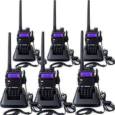Retevis RT-5R Walkie Talkie 5W 128Canales UHF 400-520MHz VHF 136-174MHz DTMF VOX Banda Dual Doble Frecuencia FM Radio con Original Auricular, Batería, Antena, Cargador, y Más(6 unidades)