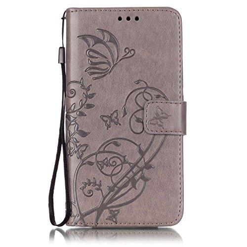 Prägen Blumen-Case, Magnetverschluss Synthetische PU-Leder-Kasten-Abdeckung mit hängenden Seil und Wallet-Funktion für WIKO FEVER 4G ( Color : Pink , Size : WIKO FEVER 4G ) Gray