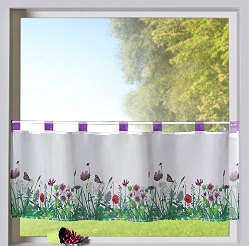 Scheibengardine Frühling Schlaufenbistro in lila Blumen Wiese hochwertiger Druck auf Voile in weiß Panneaux HxB 45x120cm Gardine Typ322 -