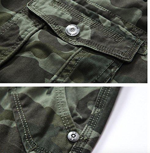 WSLCN Homme Pantalon de Camouflage Combat Militaire Cargo Pants de Loisirs (SANS CEINTURE) Camouflage armée vert