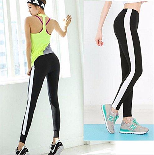 QIYUN.Z Sport Femmes Cote Large Raye Decontracte Facon etanche Courir Crayon Pantalons Pantalons Noir
